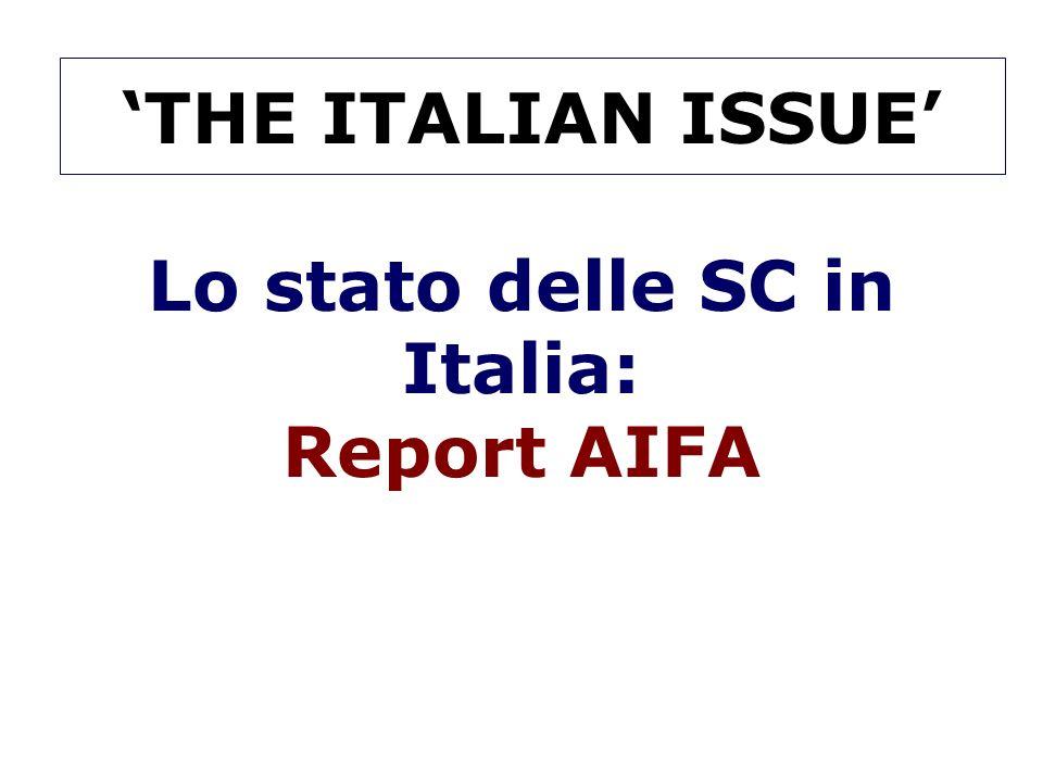 Lo stato delle SC in Italia: Report AIFA