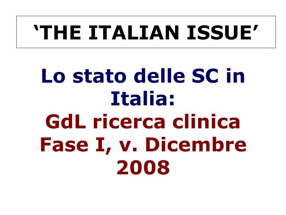 'THE ITALIAN ISSUE' Lo stato delle SC in Italia: GdL ricerca clinica Fase I, v. Dicembre 2008