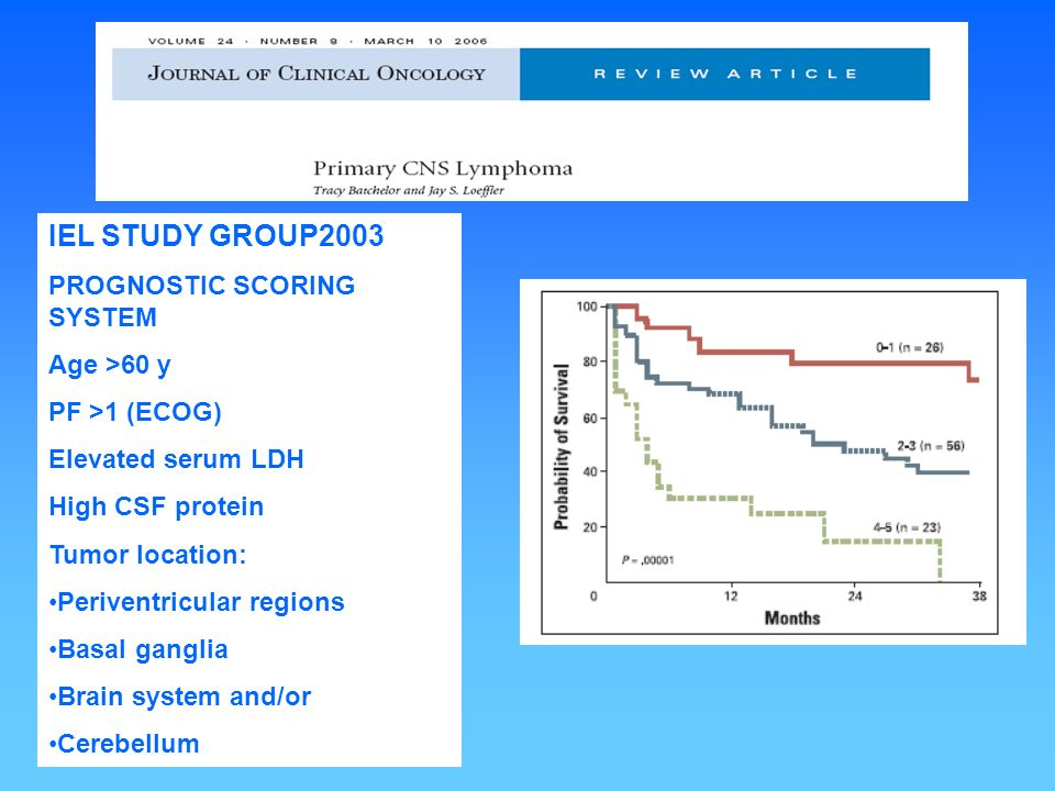 IEL STUDY GROUP2003 PROGNOSTIC SCORING SYSTEM Age >60 y