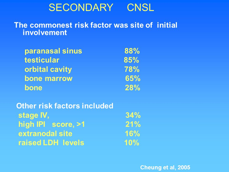 SECONDARY CNSLThe commonest risk factor was site of initial involvement. paranasal sinus 88%