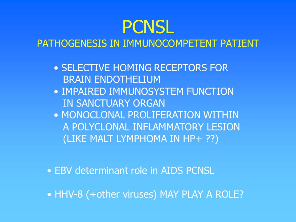 PCNSL PATHOGENESIS IN IMMUNOCOMPETENT PATIENT