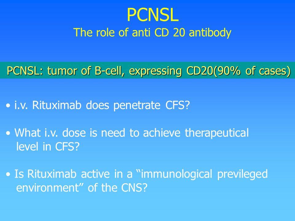 PCNSL The role of anti CD 20 antibody