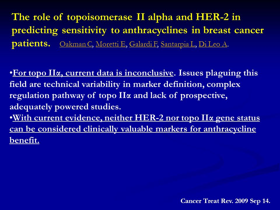 The role of topoisomerase II alpha and HER-2 in predicting sensitivity to anthracyclines in breast cancer patients. Oakman C, Moretti E, Galardi F, Santarpia L, Di Leo A.