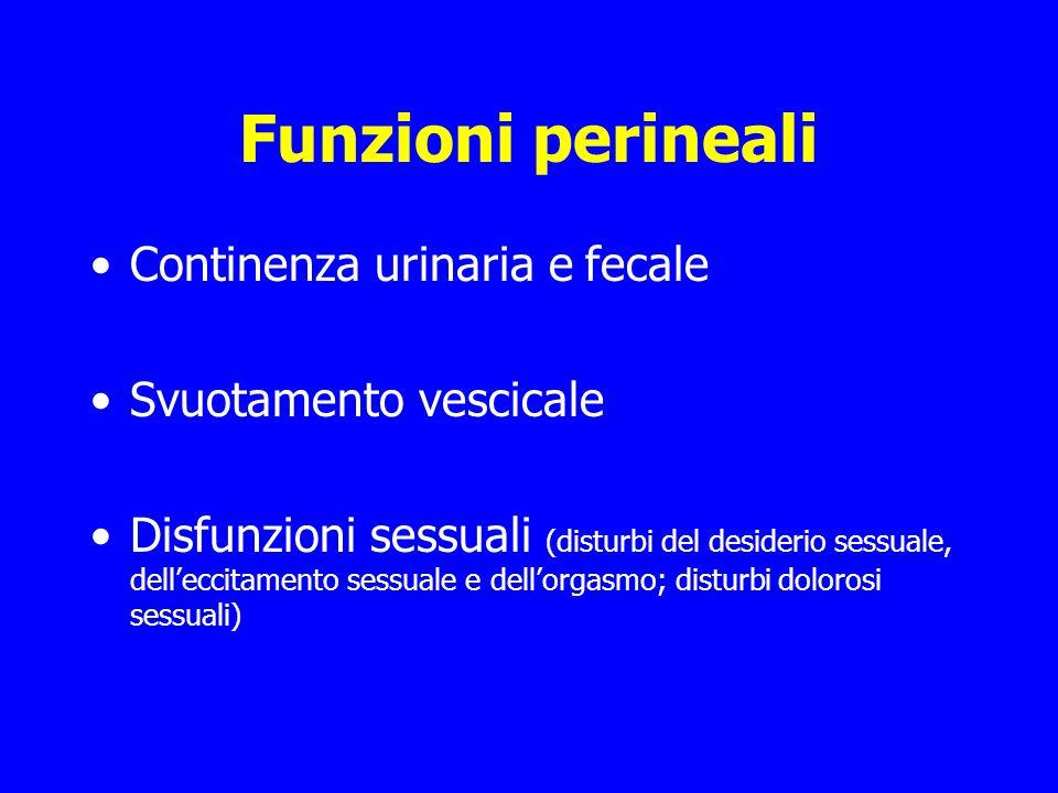 Funzioni perineali Continenza urinaria e fecale Svuotamento vescicale