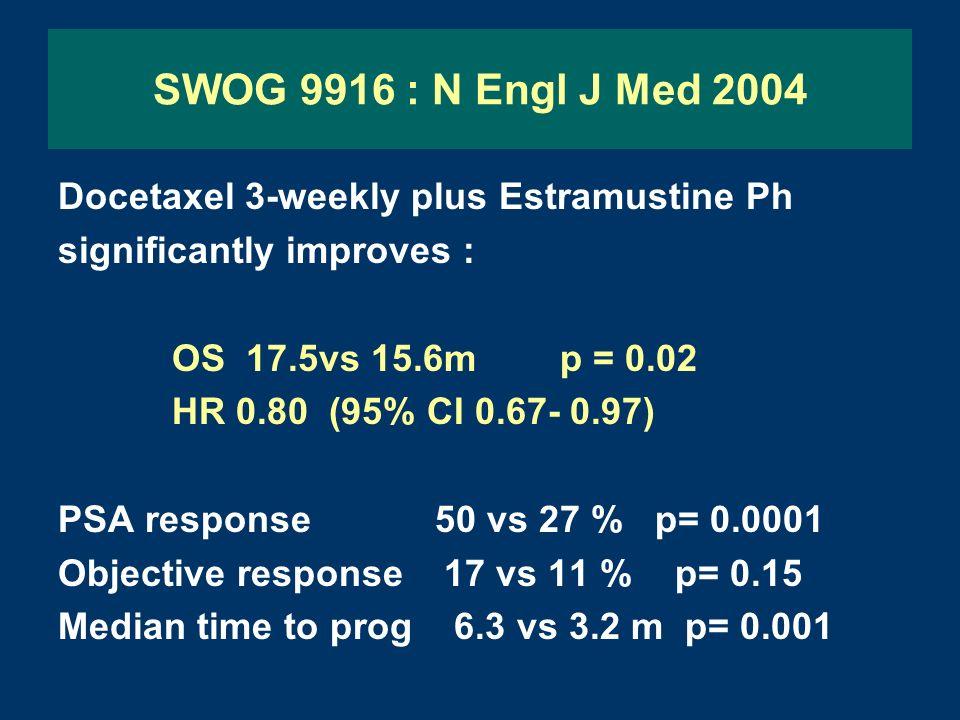 SWOG 9916 : N Engl J Med 2004 Docetaxel 3-weekly plus Estramustine Ph