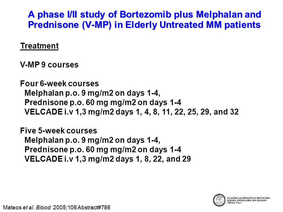 A phase I/II study of Bortezomib plus Melphalan and Prednisone (V-MP) in Elderly Untreated MM patients