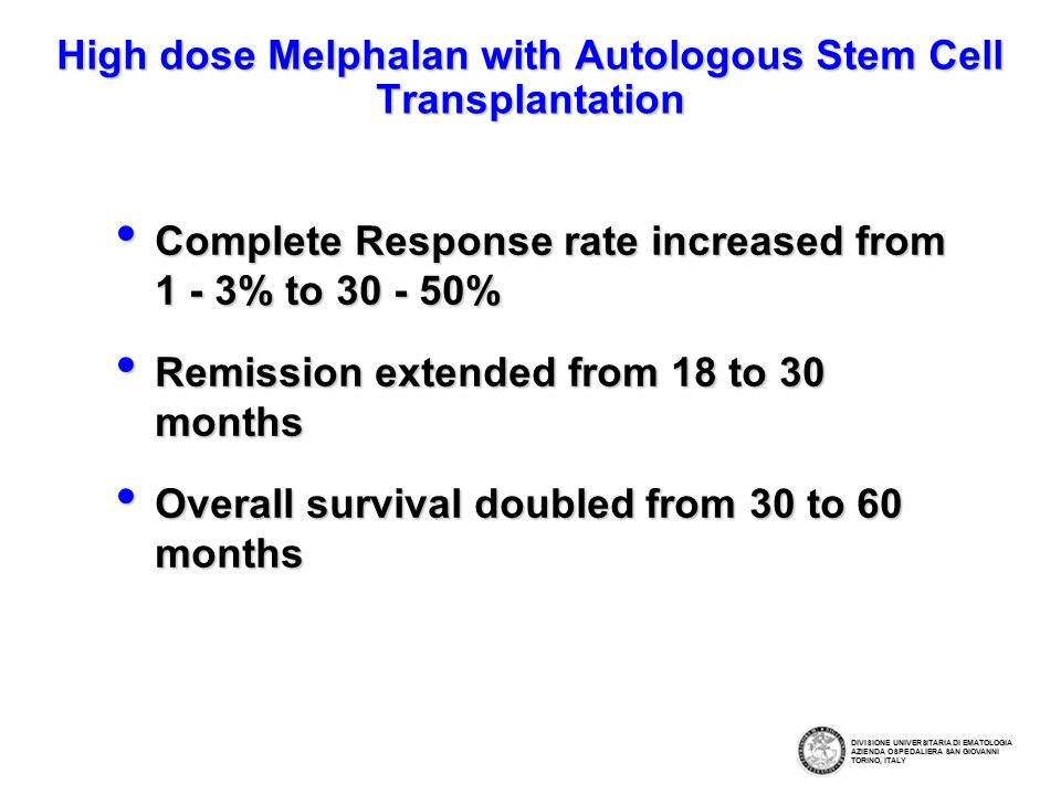 High dose Melphalan with Autologous Stem Cell Transplantation