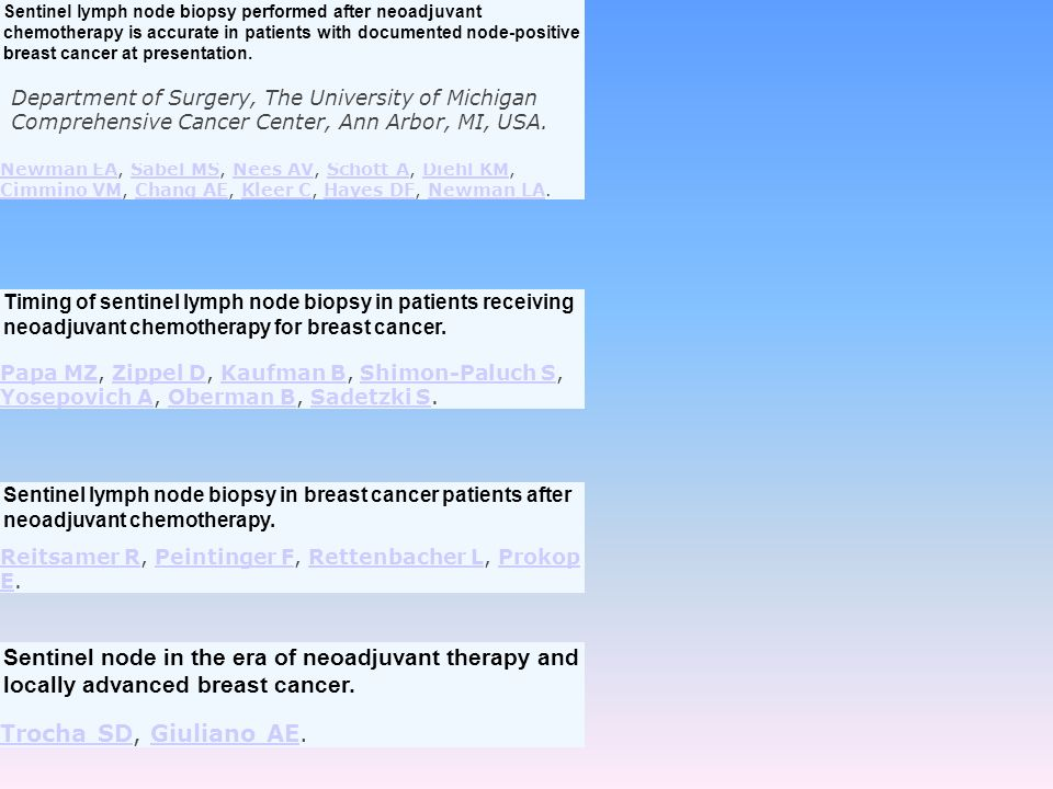 Sentinel lymph node biopsy performed after neoadjuvant chemotherapy is accurate in patients with documented node-positive breast cancer at presentation.