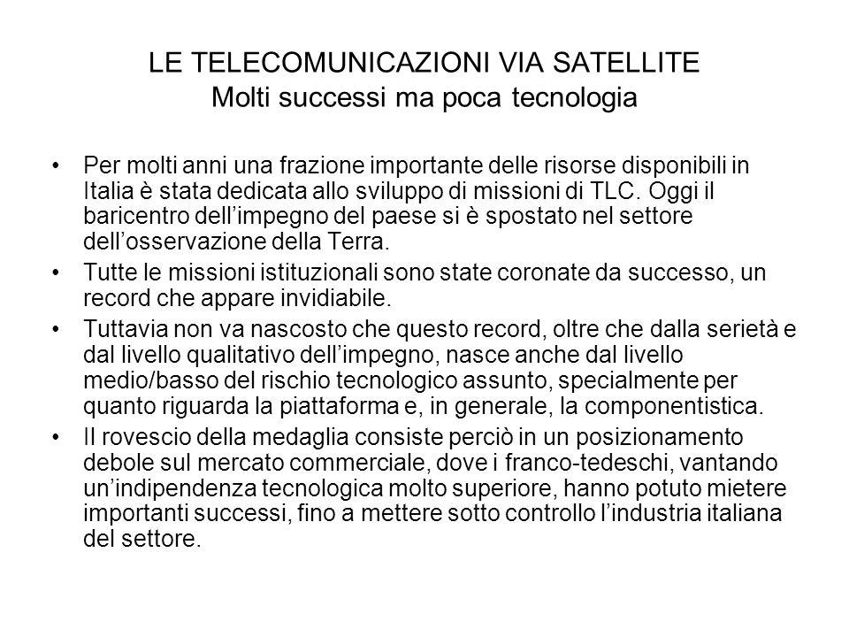 LE TELECOMUNICAZIONI VIA SATELLITE Molti successi ma poca tecnologia