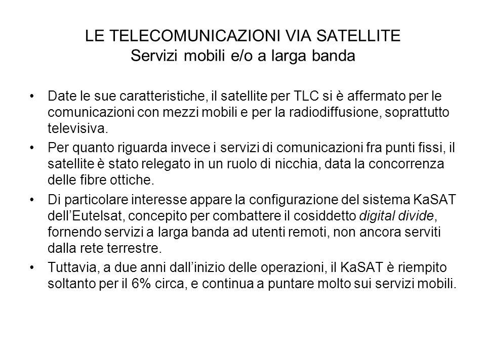 LE TELECOMUNICAZIONI VIA SATELLITE Servizi mobili e/o a larga banda
