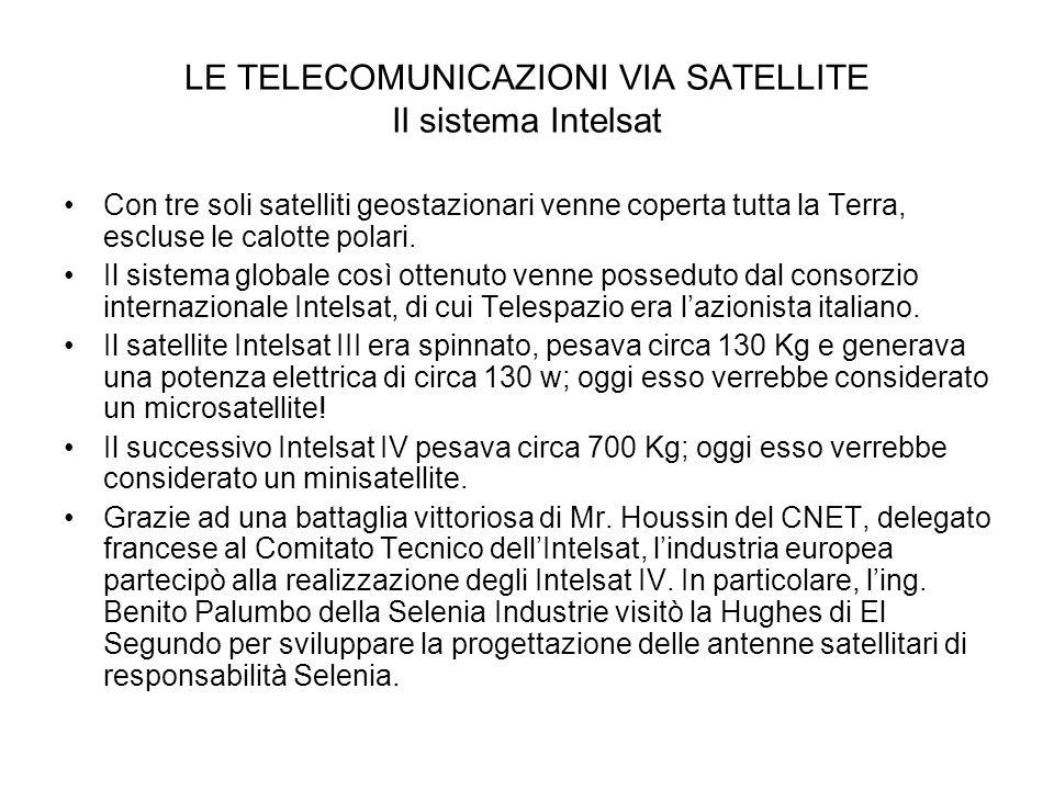 LE TELECOMUNICAZIONI VIA SATELLITE Il sistema Intelsat