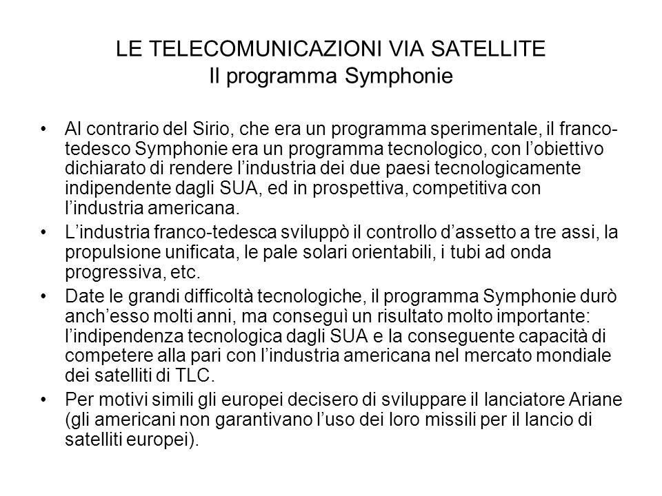 LE TELECOMUNICAZIONI VIA SATELLITE Il programma Symphonie