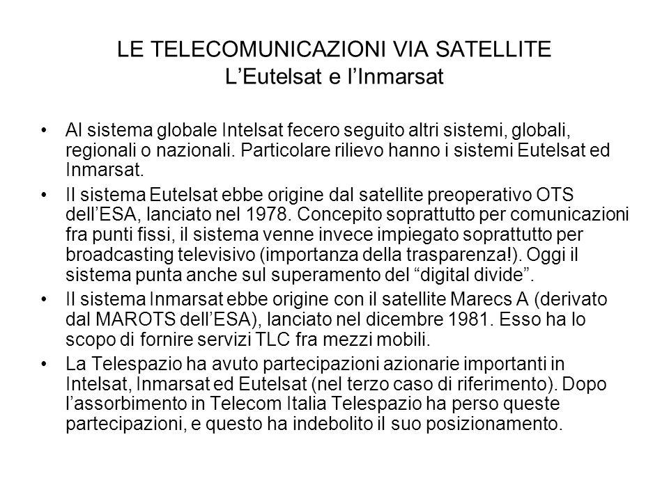 LE TELECOMUNICAZIONI VIA SATELLITE L'Eutelsat e l'Inmarsat