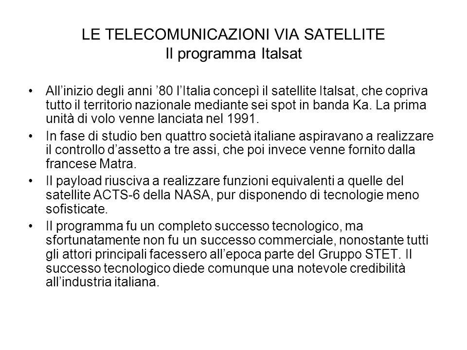 LE TELECOMUNICAZIONI VIA SATELLITE Il programma Italsat