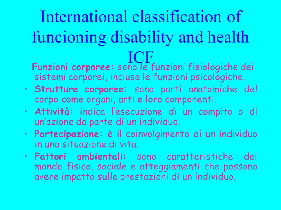 International classification of funcioning disability and health ICF