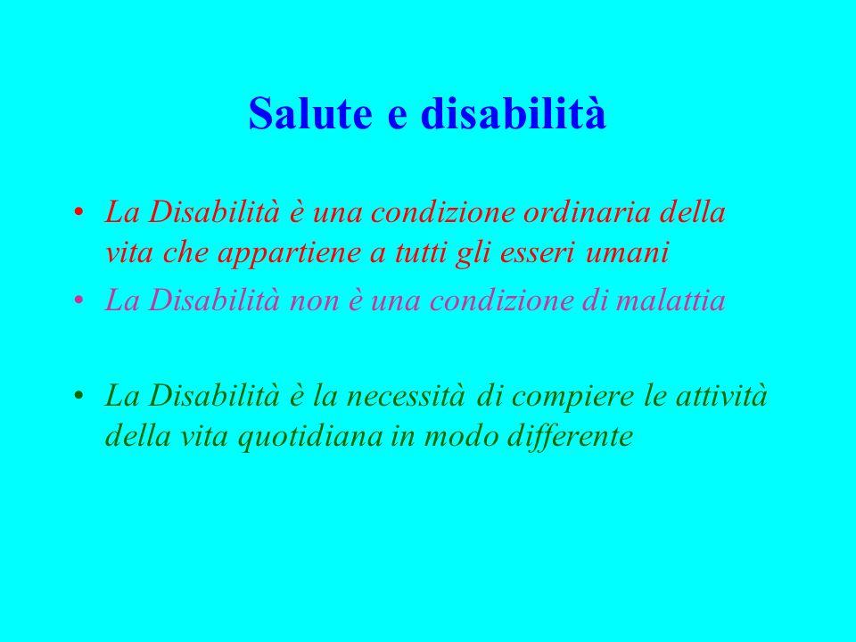Salute e disabilità La Disabilità è una condizione ordinaria della vita che appartiene a tutti gli esseri umani.