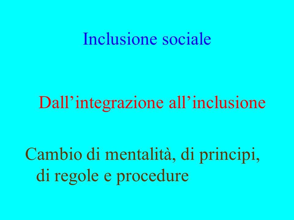 Inclusione sociale Dall'integrazione all'inclusione.