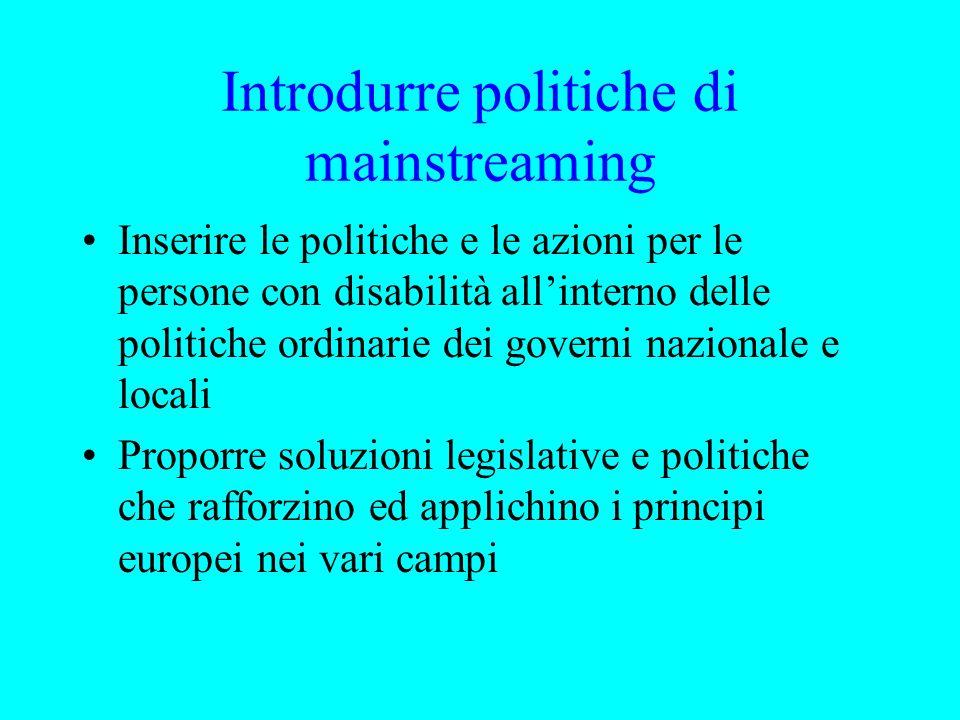 Introdurre politiche di mainstreaming