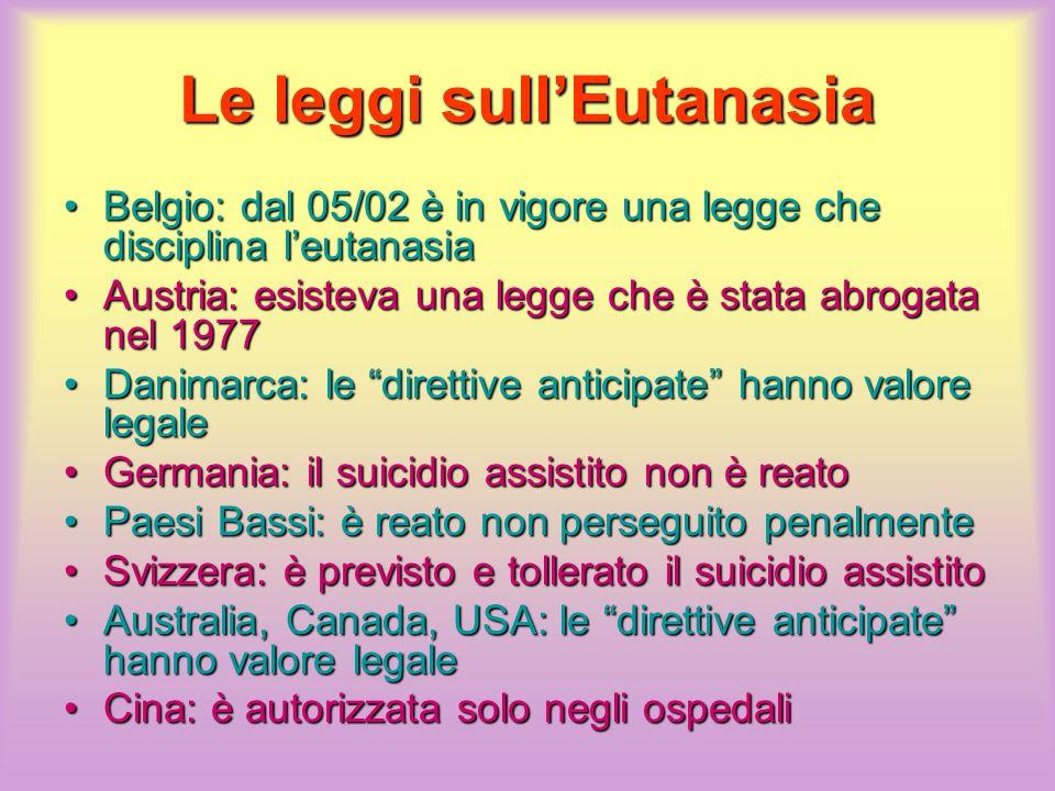Le leggi sull'Eutanasia