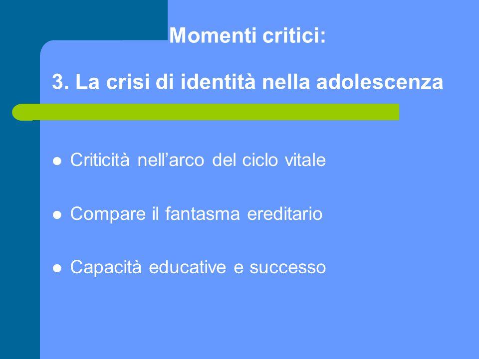 Momenti critici: 3. La crisi di identità nella adolescenza