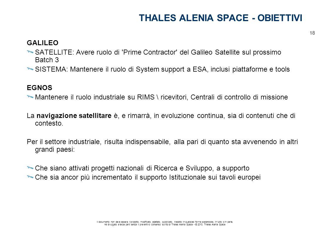 THALES ALENIA SPACE - OBIETTIVI