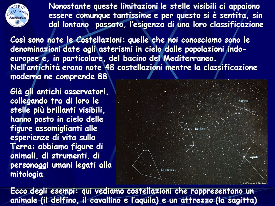Nonostante queste limitazioni le stelle visibili ci appaiono essere comunque tantissime e per questo si è sentita, sin dal lontano passato, l'esigenza di una loro classificazione