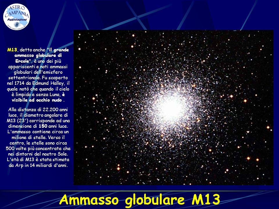 M13, detto anche il grande ammasso globulare di Ercole , è uno dei più appariscenti e noti ammassi globulari dell emisfero settentrionale. Fu scoperto nel 1714 da Edmund Halley, il quale notò che quando il cielo è limpido e senza Luna, è visibile ad occhio nudo .