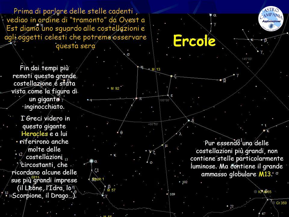 Prima di parlare delle stelle cadenti , vediao in ordine di tramonto da Ovest a Est diamo uno sguardo alle costellazioni e agli oggetti celesti che potremo osservare questa sera