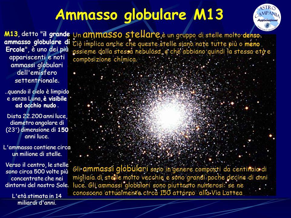 Ammasso globulare M13 Un ammasso stellare è un gruppo di stelle molto denso.