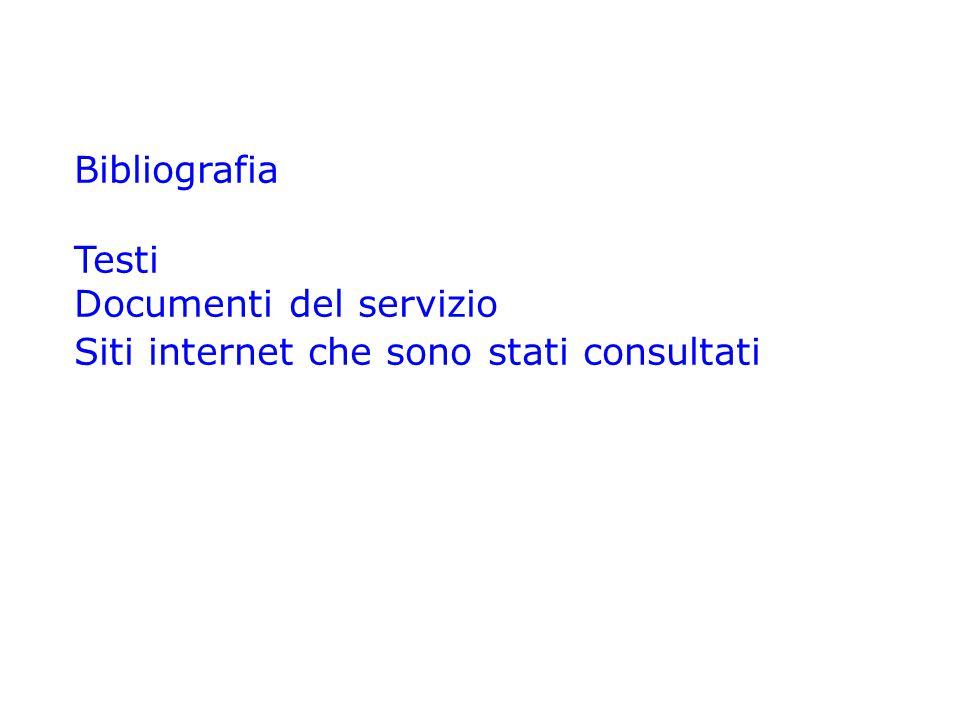 Bibliografia Testi Documenti del servizio Siti internet che sono stati consultati