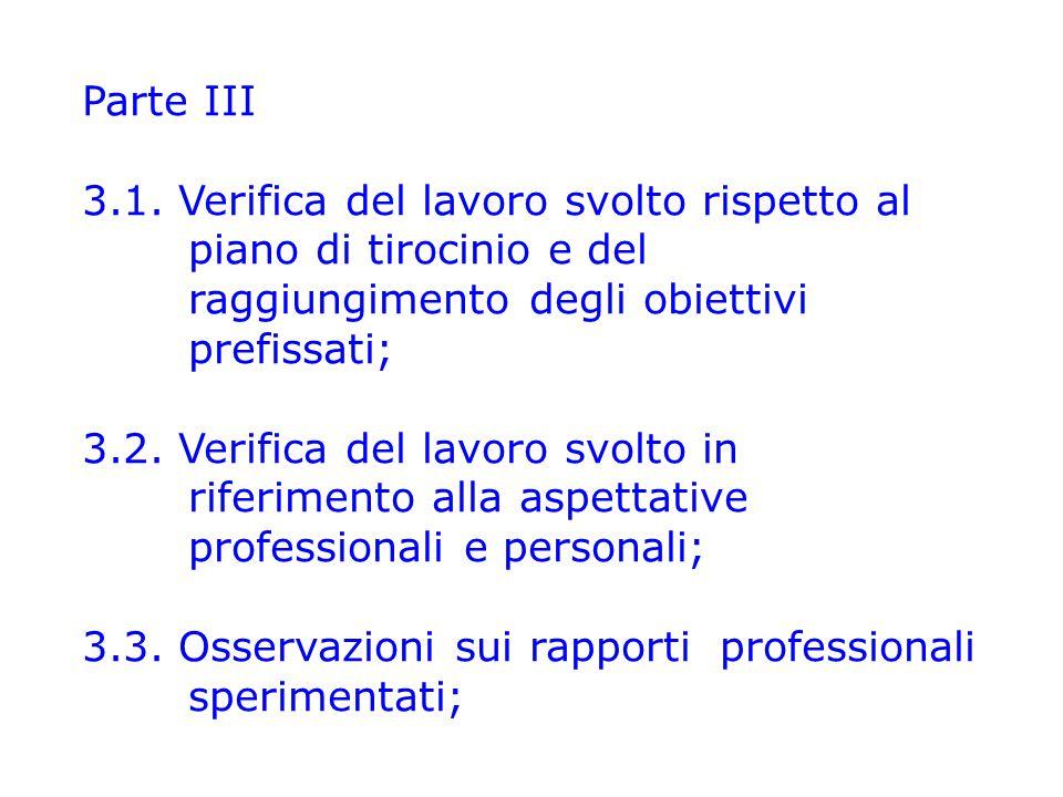 Parte III 3.1. Verifica del lavoro svolto rispetto al piano di tirocinio e del raggiungimento degli obiettivi prefissati;