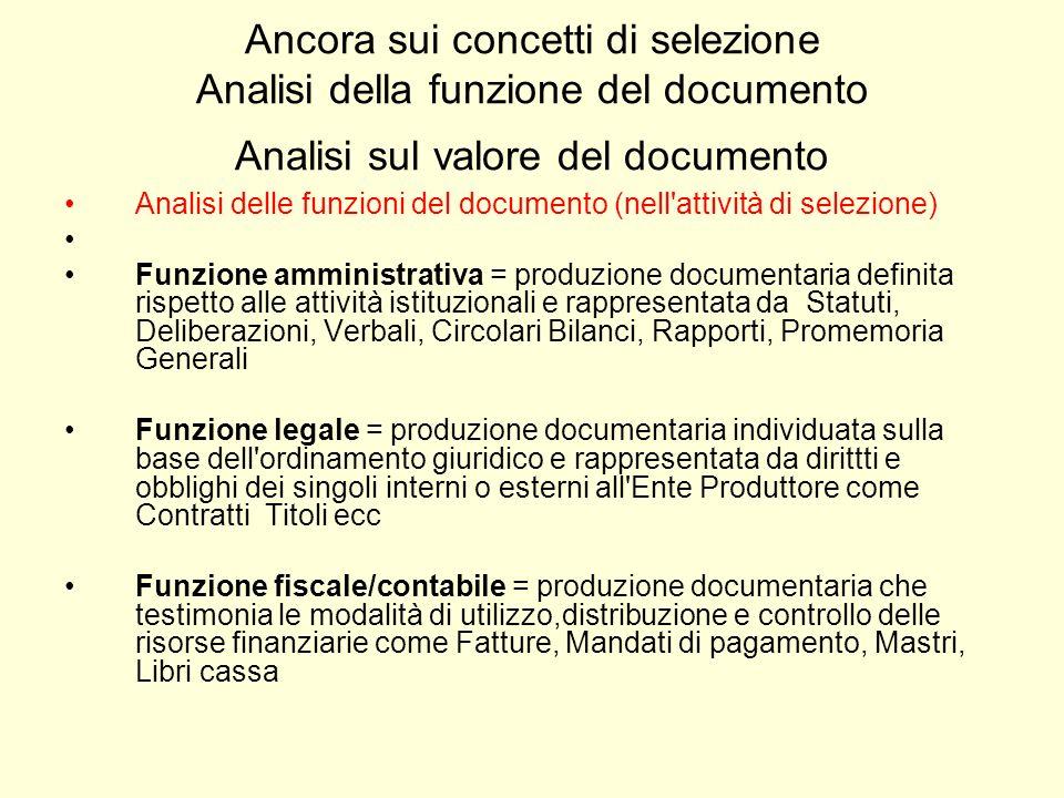 Ancora sui concetti di selezione Analisi della funzione del documento Analisi sul valore del documento