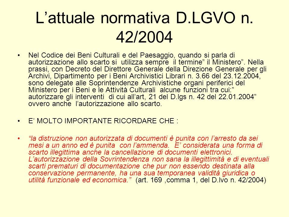 L'attuale normativa D.LGVO n. 42/2004