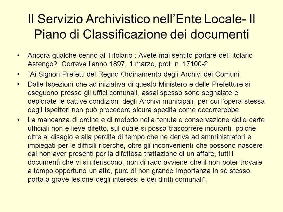 Il Servizio Archivistico nell'Ente Locale- Il Piano di Classificazione dei documenti