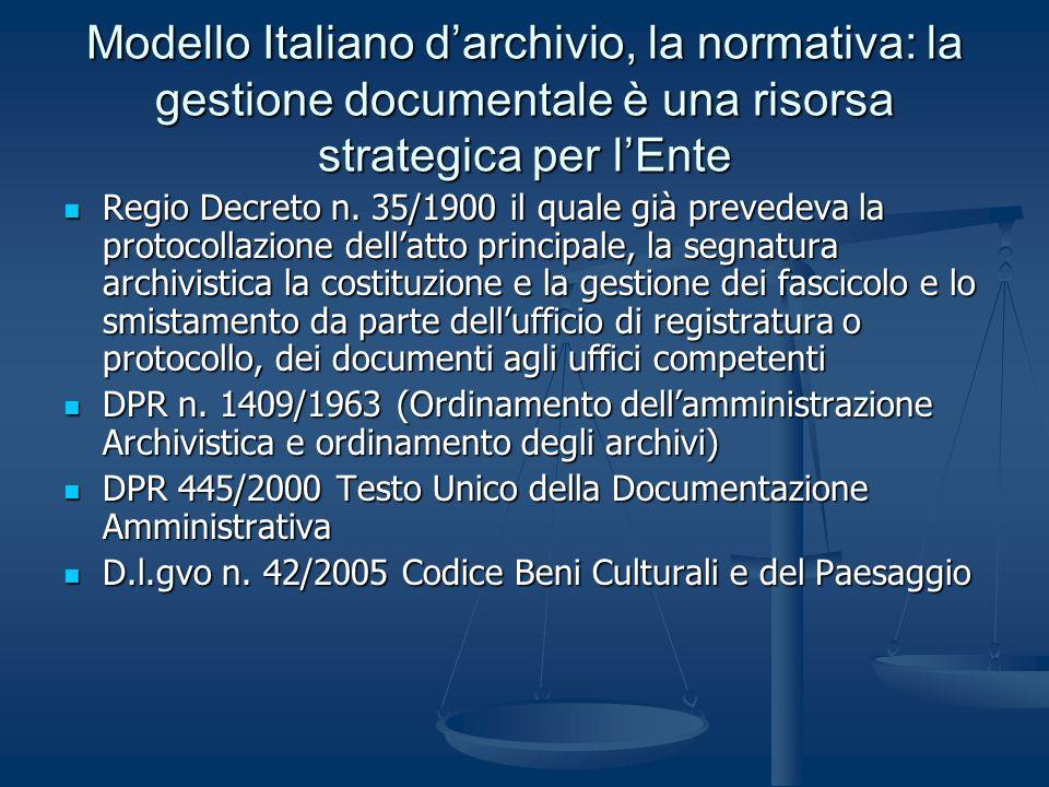 Modello Italiano d'archivio, la normativa: la gestione documentale è una risorsa strategica per l'Ente