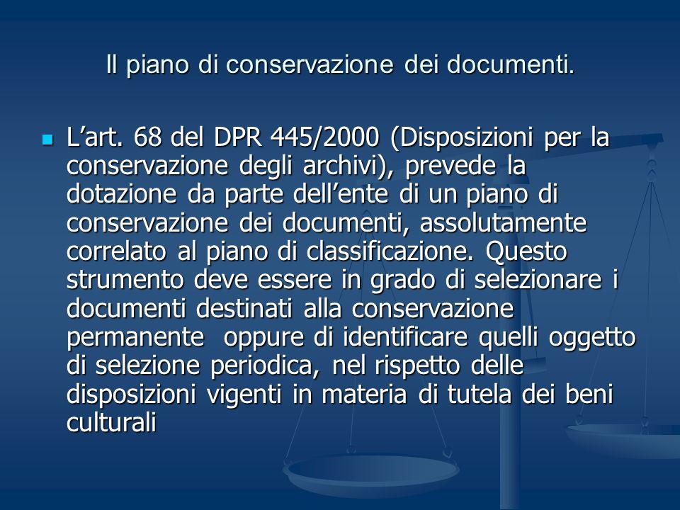 Il piano di conservazione dei documenti.