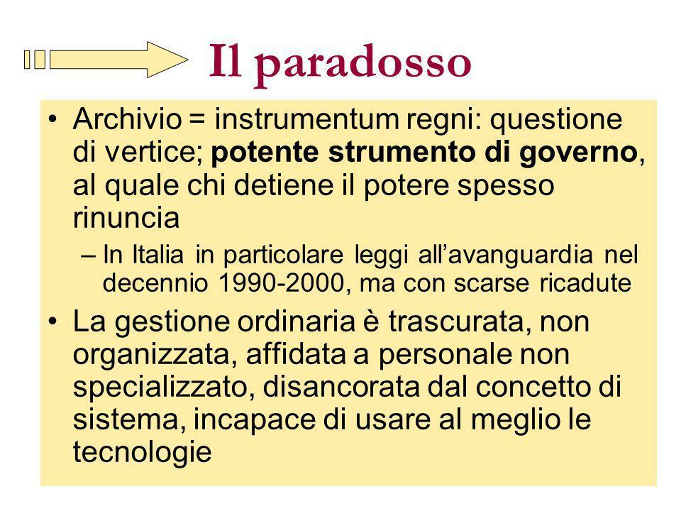 Il paradosso Archivio = instrumentum regni: questione di vertice; potente strumento di governo, al quale chi detiene il potere spesso rinuncia.