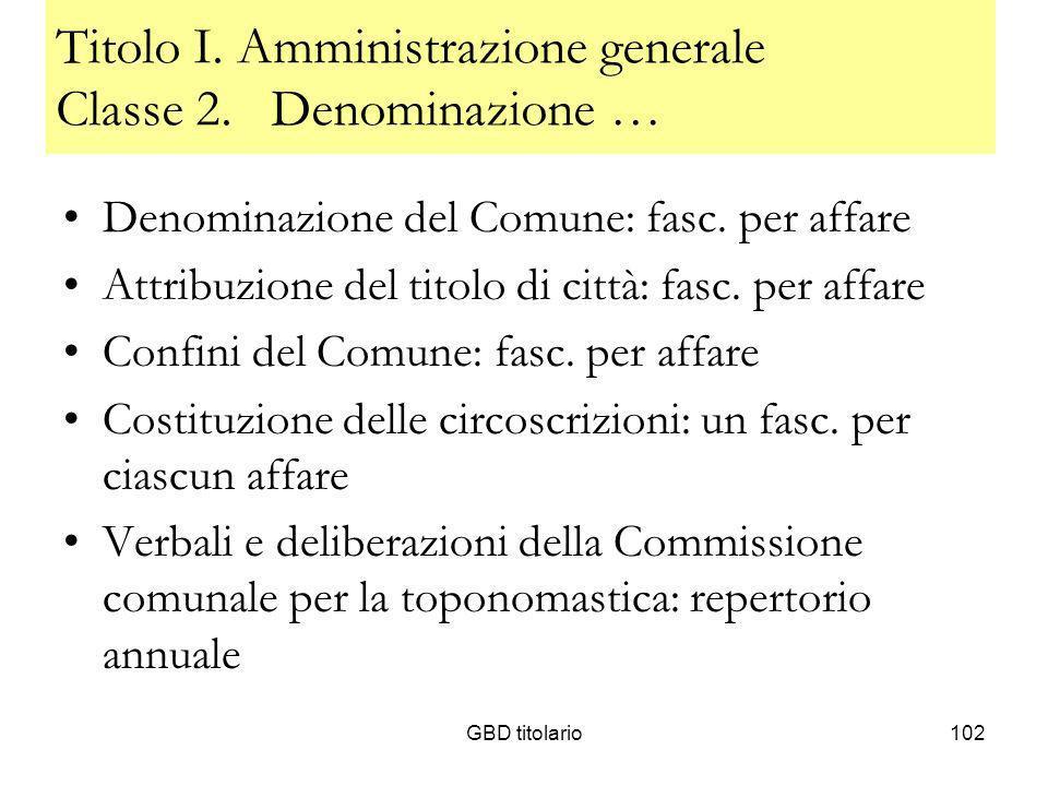 Titolo I. Amministrazione generale Classe 2. Denominazione …