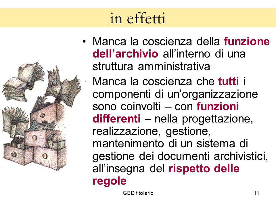 in effettiManca la coscienza della funzione dell'archivio all'interno di una struttura amministrativa.