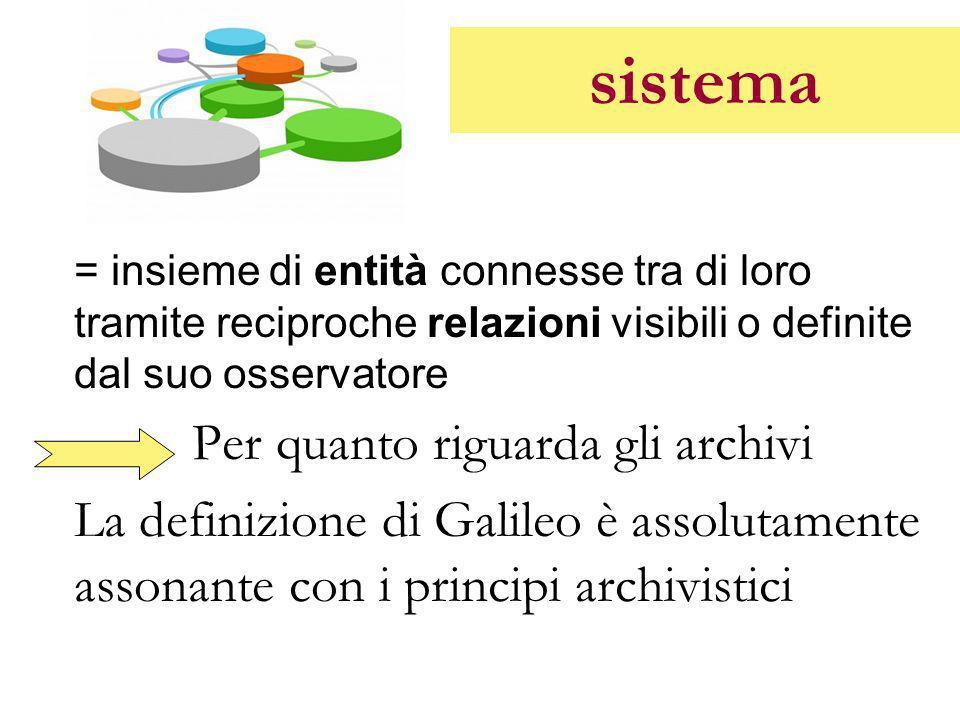 sistema = insieme di entità connesse tra di loro tramite reciproche relazioni visibili o definite dal suo osservatore.