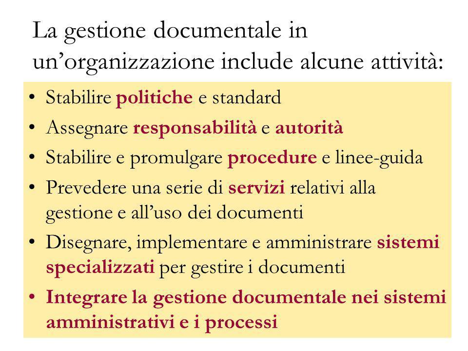La gestione documentale in un'organizzazione include alcune attività: