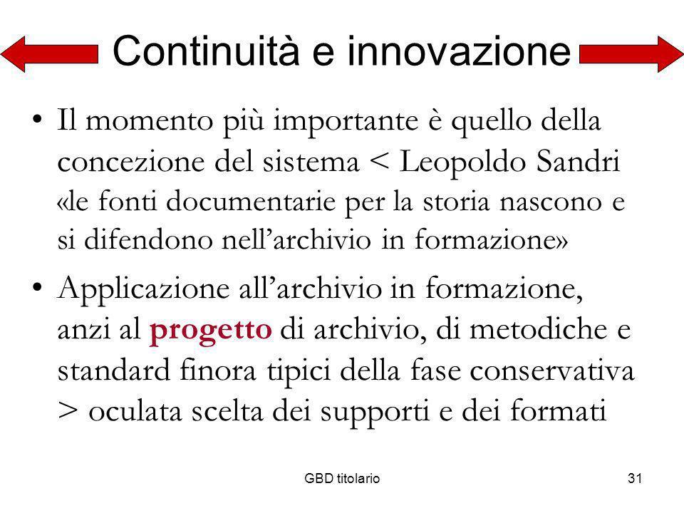 Continuità e innovazione