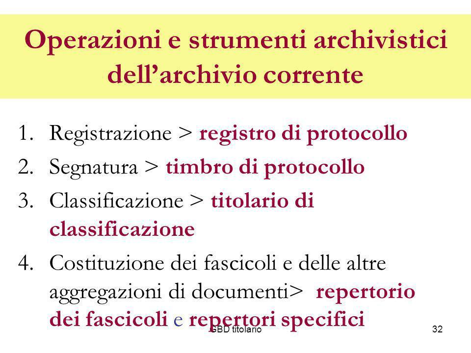Operazioni e strumenti archivistici dell'archivio corrente