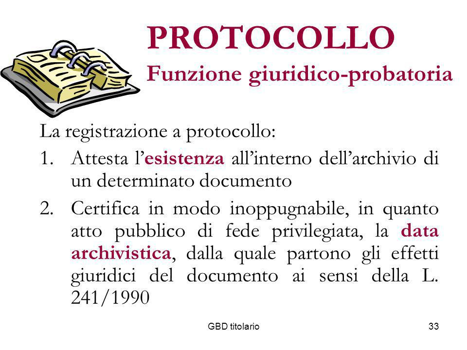 PROTOCOLLO Funzione giuridico-probatoria