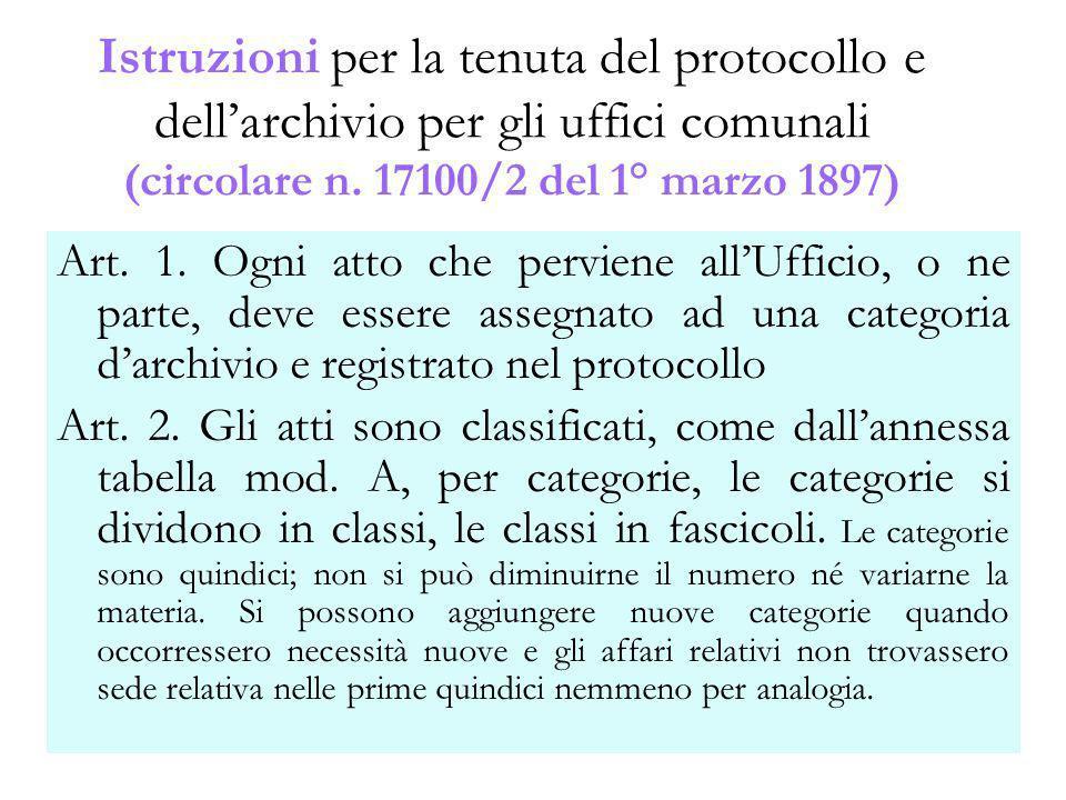 Istruzioni per la tenuta del protocollo e dell'archivio per gli uffici comunali (circolare n. 17100/2 del 1° marzo 1897)