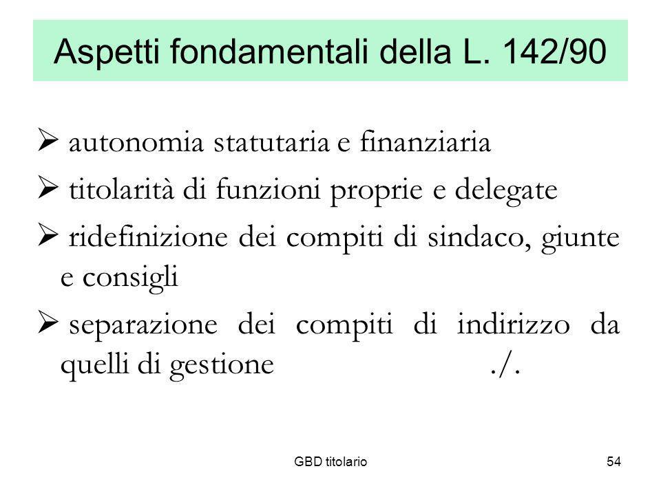 Aspetti fondamentali della L. 142/90