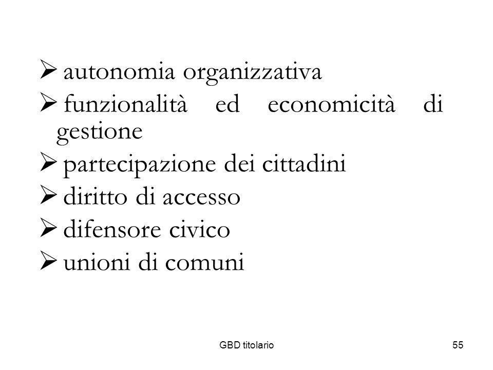 autonomia organizzativa funzionalità ed economicità di gestione