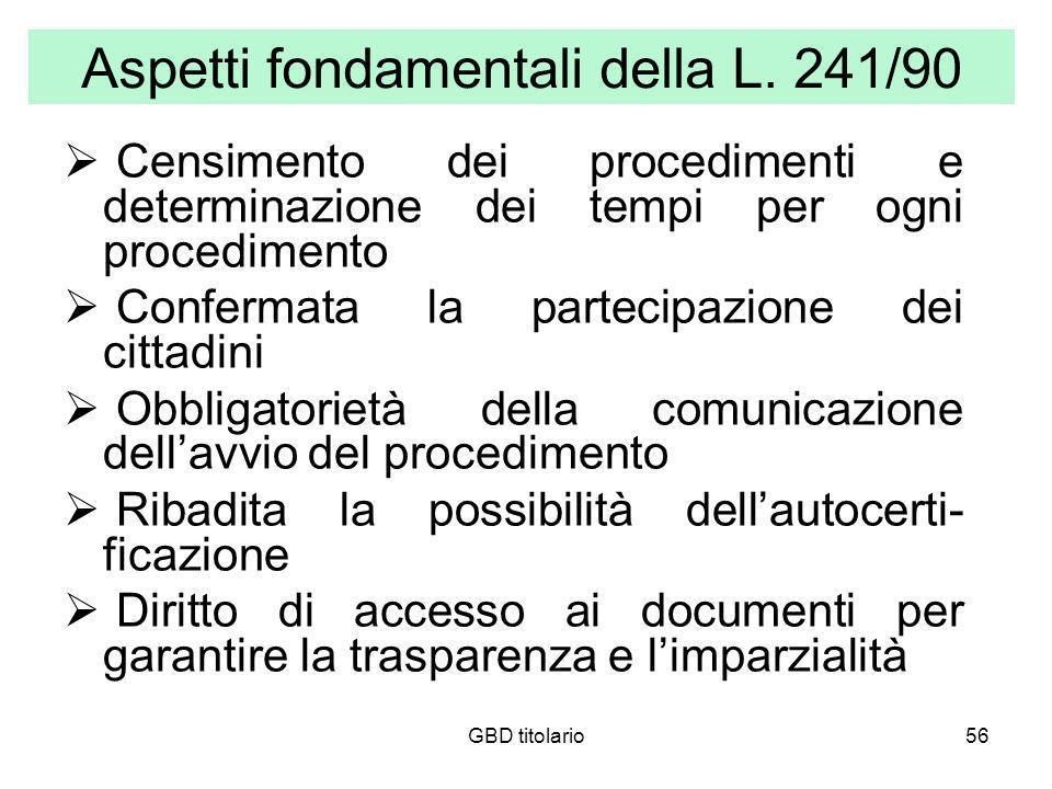 Aspetti fondamentali della L. 241/90
