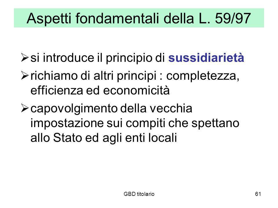 Aspetti fondamentali della L. 59/97