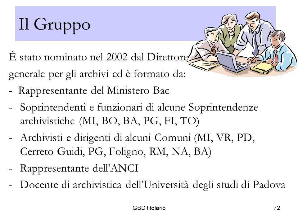 Il Gruppo È stato nominato nel 2002 dal Direttore